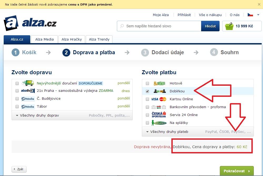 Poplatek za dobírku 60 Kč - Zdroj: košík na www.alza.cz